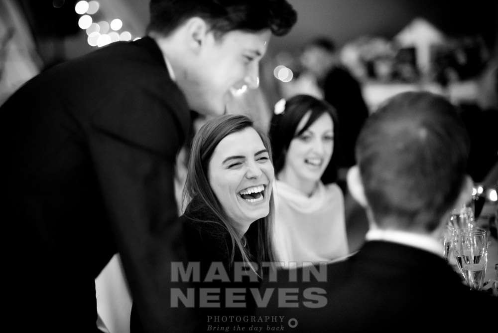 Lots of laughter form the guests during the wedding breakfast.