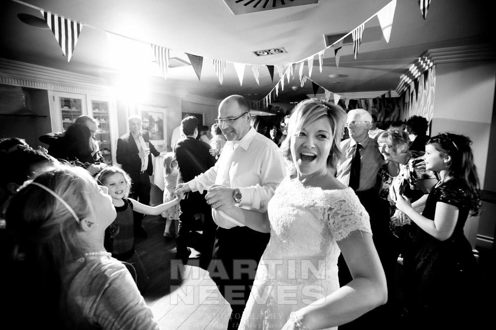 Dancing at the wedding.