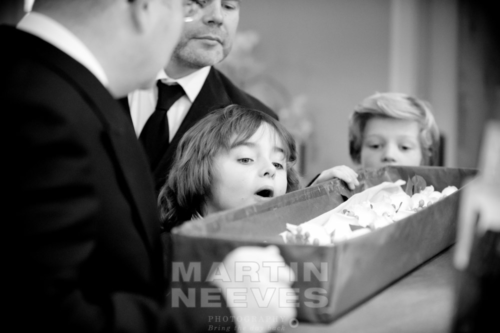 Inquisitive young wedding guests.