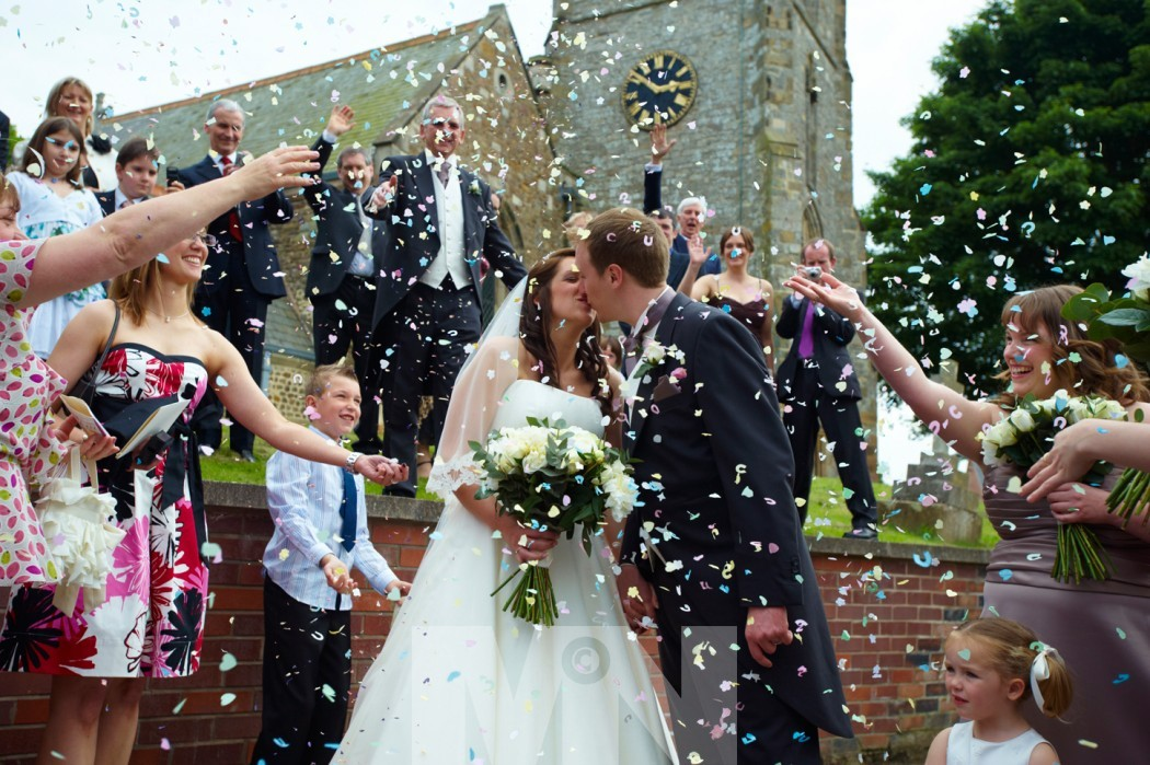 confetti photo at a wedding at Arnesby Leicestershire