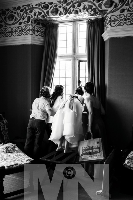 A bride and her bridesmaids at Quenby Hall Hungarton Leicestershire