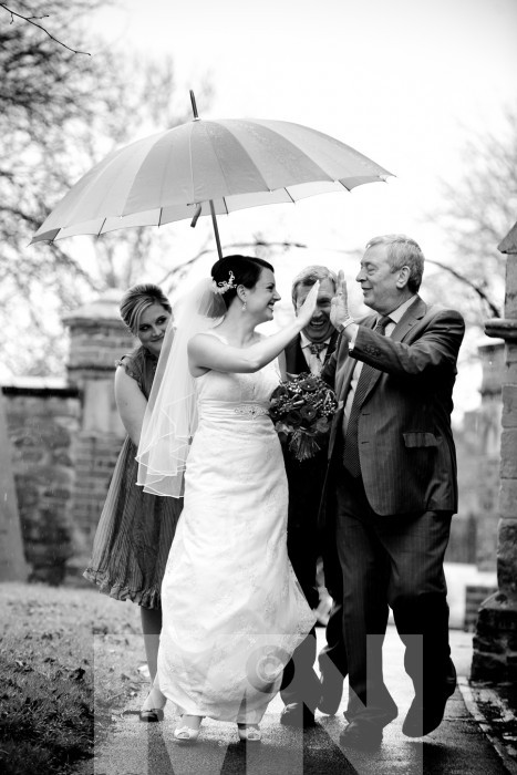 rainy wedding day at Stoney Stanton Leicestershire