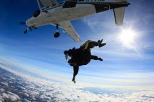 Martin Neeves on his tandem skydive at Langar Airfield - done partly as a midlife-crisis bucket list type of thing and partly to raise money for the Bamboozle Theatre Company.